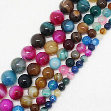 15'' Strand Colorful Stripes Agate Gemstone Round Loose Spacer Bead 4/6/8/10MM