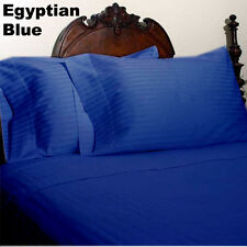 Quality 1000TC Egyptian Cotton All Bedding Items UK-Sizes Egyptian Blue Striped