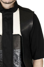 RICK OWENS New Men black Sleeveless PARKA cotton Leather Made in Italy NWT