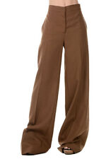 MARNI New Woman Wool Brown Wide Leg Pants Trousers Made in Italy