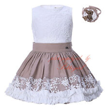 Girl Flower Top + Pleated Skirt + Headband Set 3Pcs Embroidered Party Pageant