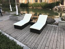 Wicker Rattan Lounge sofa Chaise Chair Bed Set Patio Outdoor Furniture Wicker3pc