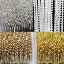 2/5M Silver/Gold Metal Round Ball Bead Chain For Necklace Jewelry Findings 1.0MM