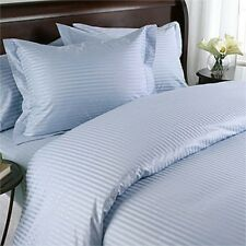 1200 TC 100%Egyptian Cotton Complete Bedding Items US-Sizes Sky Blue Striped