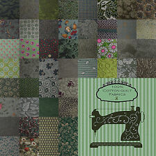 Cotton Calico Quilting Fabric: Green #3--46 Choices--Fat Quarters & Cut-to-Order