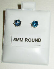 GENUINE LONDON BLUE TOPAZ TOP GEM COLOR & QUALITY! STUD EARRINGS STERLING SILVER