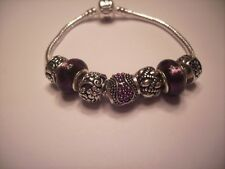 European style Charm Bracelet Silver Purple Murano Glass Beads Stones