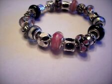 European Style Charm Bracelet Pink Black White Murano Glass Beads Charms Stones