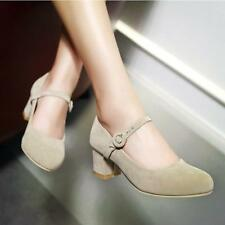 Womens Cute Faux Suede Heels Round Toe Lolita Ankle Buckle Shoes Pumps Creepers