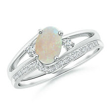 Oval Natural Opal and Diamond Wedding Band Ring Set 14k White Gold Size 3-13