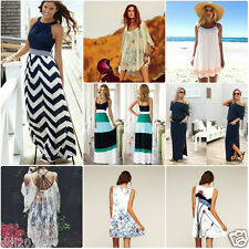 US Women's Summer Boho Sleeveless Long Maxi Evening Party Beach Short Sun Dress