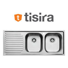 Tisira 116cm Stainless Steel Double Bowl Living Edge Sink with Drainer