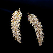 18k Gold Plated Made With Swarovski Crystal Feather Bar Ear Cuff Earring IE118