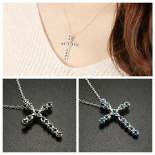 Women Silver Plated Rhinestone Crystal Cross Pendant Necklace charm Jewelry