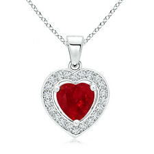 Vintage Style Floating Ruby Heart Pendant with Diamond Halo 14K White Gold