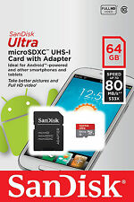 SanDisk Micro SD Card -64GB, ULTRA Class 10 speed Card with adapter- 80 mb/s