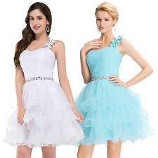 One shoulder Organza Ball Cocktail Evening Prom Party Dress Mini Short Lady