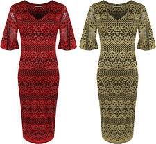 Womens Plus Bell Sleeve Party Dress Ladies Sequin Lace Lined Knee Length 14-28