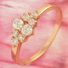 Womens Rose Gold plated Clear clear crystal engagement Ring,size 6,7 eternity