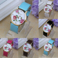 1PC Women Leather Rhinestone Flower Pattern WristWatch Quartz Watches Ornate