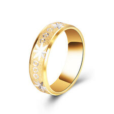Mens Rings Huggie Engraved Flower Wedding Band Ring Stainless Steel Gold plated