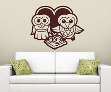 Wall Decal Love Owl Owls Pair Bird Tree Marriage Ring Heart Animals Sticker