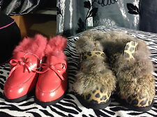 New Leopard pattern Pink Faux Fur Winter Girl Kids Shoes Boots