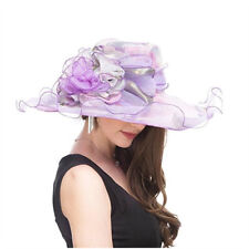 Women's Organza Church Derby Fascinator Bridal Cap Tea Party Wedding Feather Hat