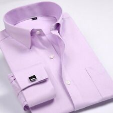 New!!! Mens Long-sleeved Non-iron Cufflinks Solid Business Dress Shirt 9 Colors