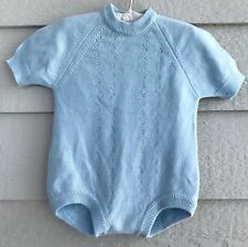 Vintage Al-Dino Knits Made in Italy sweater romper 3-6 months light baby blue -K