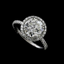 Cut Down Micropave Diamond 14k White Gold Halo Modern Engagement Ring Mountig