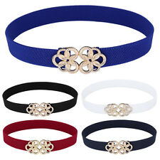 S~XL Women's Metal Floral Interlock Buckle Stretchy Elastic Waist Belt Waistband