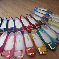 Womens Fashion Buckle Ballerina Ballet Dolly Pumps Ladies Flats Loafers OL Shoes