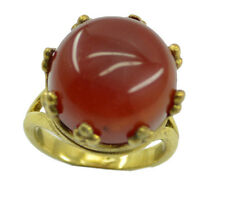 Red Onyx Gold Plated Ring excellent Red india AU K,M,O,Q