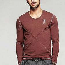 New!!!  Mens V-neck Long sleeve Contract Color Simple T-shirts Coffee M-XXXL
