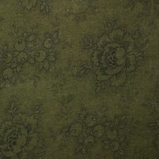 Quilt Fabric Cotton Calico Quilting FQ Dark Green Tonal Floral: Cut-to-Order