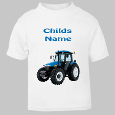 Personalised Tractor & Childs Name Short Sleeve T Shirt for kids Named Child Tee