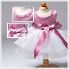 Infant Baby Girl Kid Pearls Wedding Birthday Christening Tutu Baptism Gown Dress