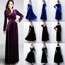 Women V Neck Long Sleeve Velvet Swing Dress Cocktail Party Wear Long Maxi Dress