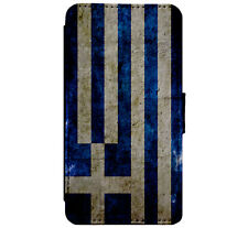 Greece Greek Grunge Flag Leather Flip Phone Case Cover for iPhone & Samsung D64