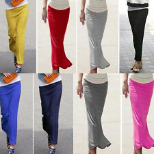 Straight Elastic Waist New Long Skirt Casual Slim Stylish Lady Package-hip