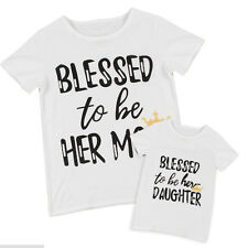 Hot Summer Family Fitted Letter Short Sleeve Mom-Daughter T-shirt Casual White