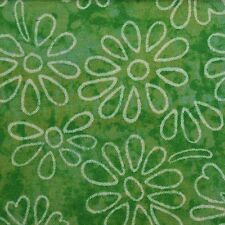 Quilting Fabric Cotton Calico Quilt FQ Green Flower Power Daisies Tonal Floral