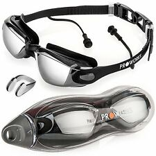 Swimming Goggles with Mirrored Lenses, UV Protect Anti-Fog Coating Unisex
