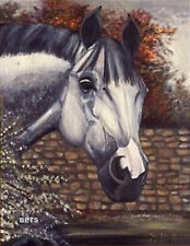 HORSE PRINT Giclee GREY Horse AMERICA by artist BETS 4 COLORS print size 12 X 16
