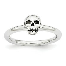 Rhodium Plated Sterling Silver Stackable 6mm Antiqued Skull Ring