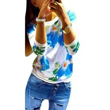 Women Floral Print Long Sleeve Tops Shirts Blouses Casual Hoodies Pullover