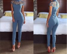 Women O-Neck Short Sleeve Jumpsuits Simple Hollow Out Overalls Rompers