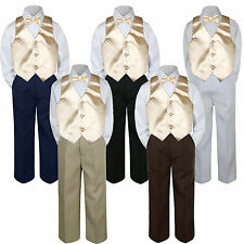 4pc Boys Suit Set Champagne Bow Tie Vest Baby Toddlers Kids Formal Pants S-7