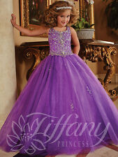 Flower Girl Dress Wedding Bridesmaids Prom Ball Gown Pageant Party Purple custom